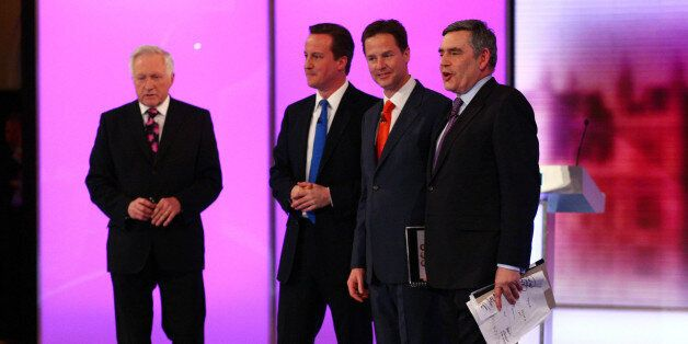 Election debate moderator David Dimblebly (far left), stands with Conservative Party leader David Cameron...