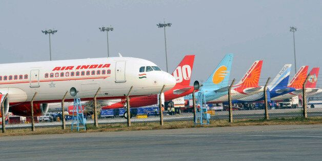 An Air India Airbus A320 aircraft is seen on the tarmac at the Indira Gandhi International Airport in...