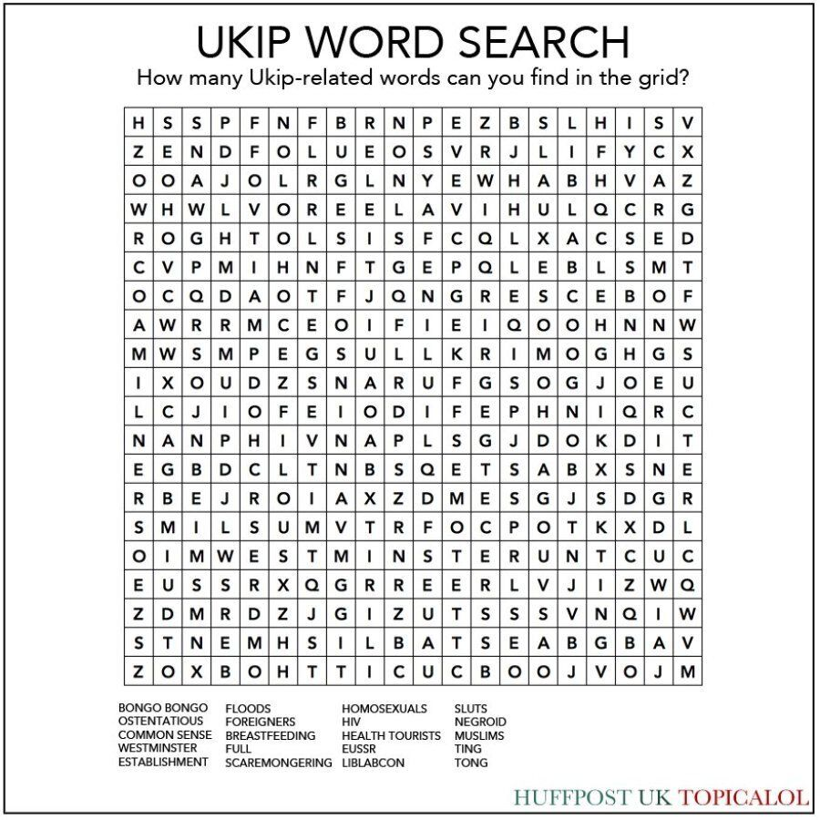 Ukip Word Search: How Many Ukip Phrases Can You Find In The