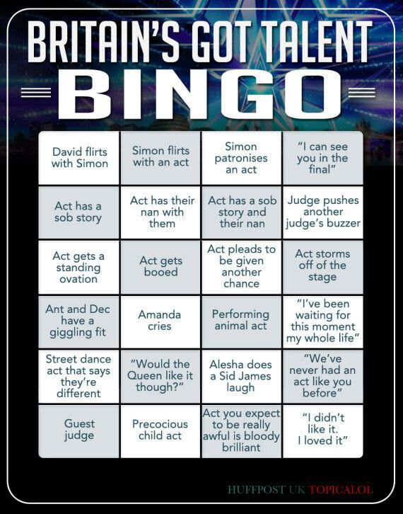 The Only 'Britain's Got Talent' Bingo Card You'll Need This (And Every)