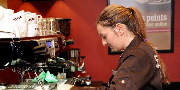 Michaela Seidnerova on her first day at work at Costa coffee in Mapperley,