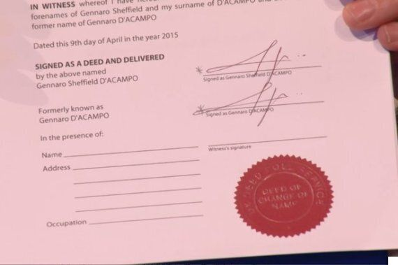 Gino D'Acampo Legally Changes His Name By Deed Poll To SHEFFIELD. Yes,