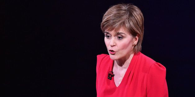 EDINBURGH, SCOTLAND - APRIL 07: First Minister and SNP leader Nicola Sturgeon speaks during the Scottish...