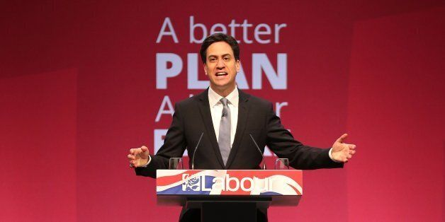 MANCHESTER, ENGLAND - APRIL 13: Labour leader Ed Miliband addresses supporters during the party's launch...