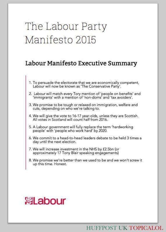 Labour's 2015 Election Manifesto: The Key