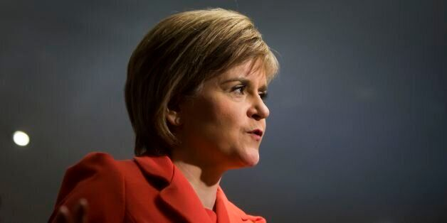 First Minister Nicola Sturgeon during a TV interview at the Saporito Caf, while on the campaign trail...