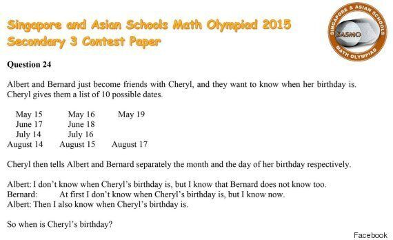 When Is Cheryl's Birthday? Maths Question Goes