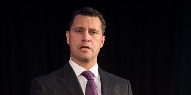 United Kingdom Independence Party (UKIP) Migration spokesman Steven Woolfe addresses supporters and media...