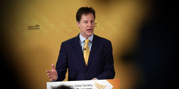 LONDON, ENGLAND - APRIL 12: Liberal Democrat leader Nick Clegg speaks during a press conference in which...