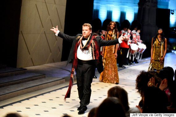 James Corden Makes His Catwalk Debut At Burberry's Los Angeles Fashion Show