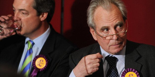 United Kingdom Independence Party (UKIP) MEP Nigel Farage (L) and party leader Lord Pearson of Rannoch...
