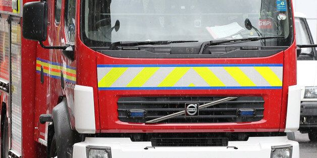 General view of a Manchester fire brigade engine that has crashed into a traffic bollard in Manchester...