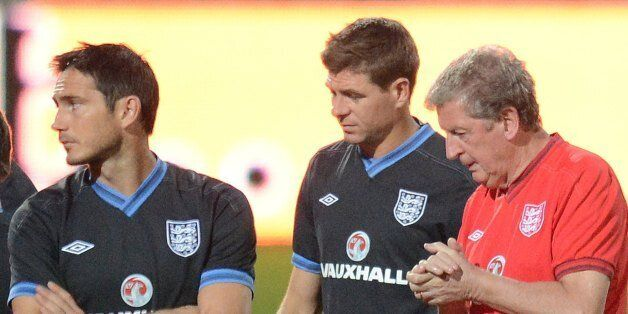 (From L to R) Frank Lampard, Steven Gerrard, Coach Roy Hodgson and John Terry take part in an official...