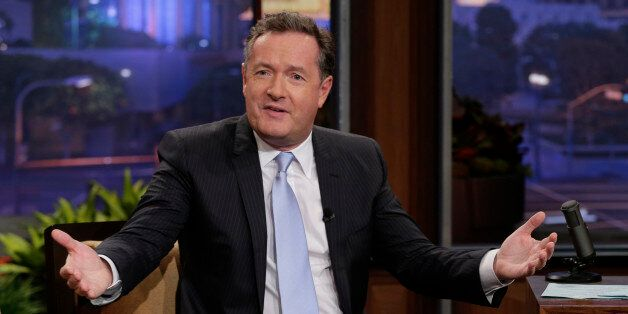 THE TONIGHT SHOW WITH JAY LENO -- Episode 4551 -- Pictured: (l-r) Piers Morgan during an interview with...