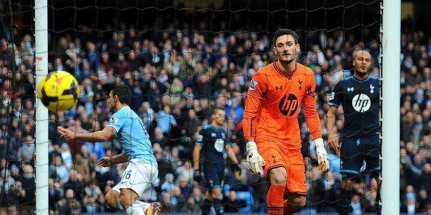 Manchester City's Sergio Aguero celebrates scoring his side's third goal of the game, as Tottenham Hotspur...
