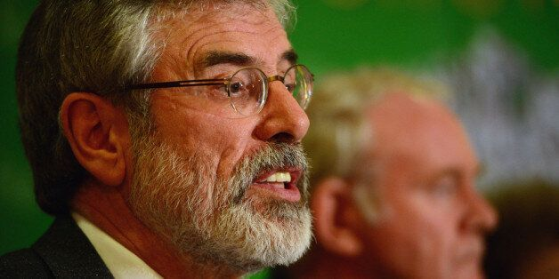 BELFAST, NORTHERN IRELAND - MAY 04: Sinn Fein Leader Gerry Adams speaks during a press conference at...