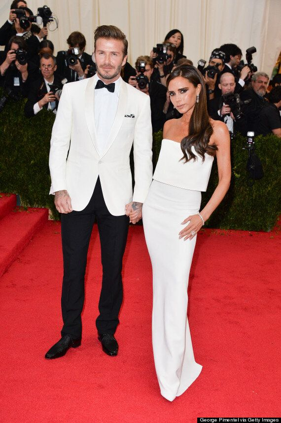 Met Ball 2014: David And Victoria Beckham Sport Matching White Outfits