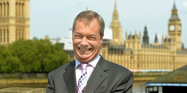 Ukip leader Nigel Farage during a TV interview after unveiling a new billboard poster in the run-up to...