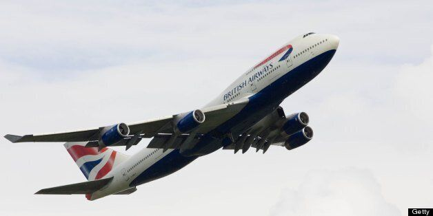 GREAT BRITAIN - JUNE 21: British Airways Jumbo Jet flying away from Heathrow, London, United Kingdom...