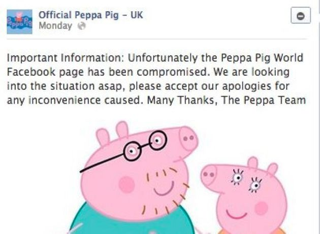 Peppa Pig Facebook Page Hacked With 'Go To Hell'