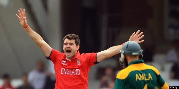 LONDON, ENGLAND - JUNE 19: James Anderson of England sucessfully appeals for an LBW against Colin Ingram...