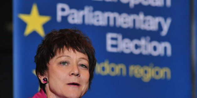 Sarah Ann Ludford of the Liberal Democrat Party talking after her election to the European Parliament...