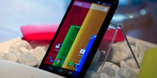 The new low cost smartphone of Motorola, 'Motorola Moto G', is displayed in Sao Paulo, Brazil on November...
