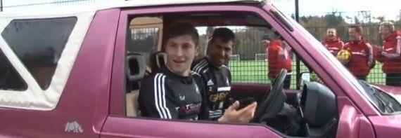 Swansea Defender Ben Davies Drives Pink Ferrari After Losing Crossbar Challenge