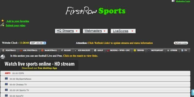 The FirstRow1.eu website, which is based in
