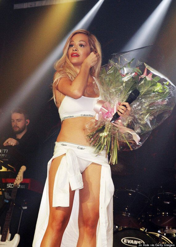 Rita Ora Whips Her Clothes Off To Reveal Calvin Klein Underwear During G-A-Y Performance