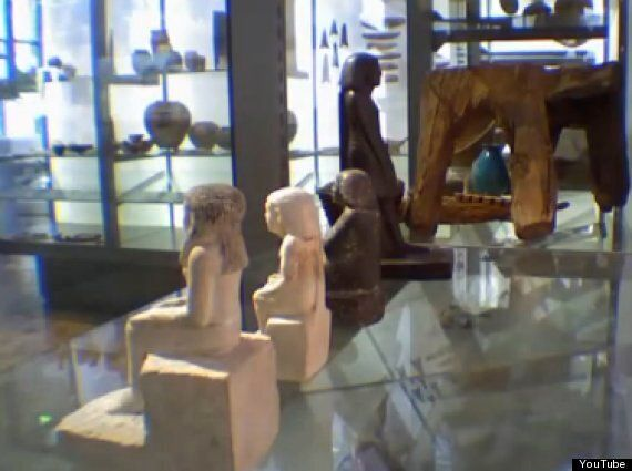 Mystery Of Ancient Egyptian Statue Neb-Senu Filmed Spinning In Glass Case At Manchester Museum