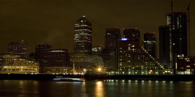 A general view of Canary Wharf business district, London, during Earth
