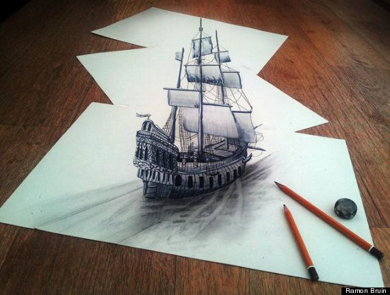 3D Pencil Drawings By Artist Ramon Bruin Look Like They're Floating