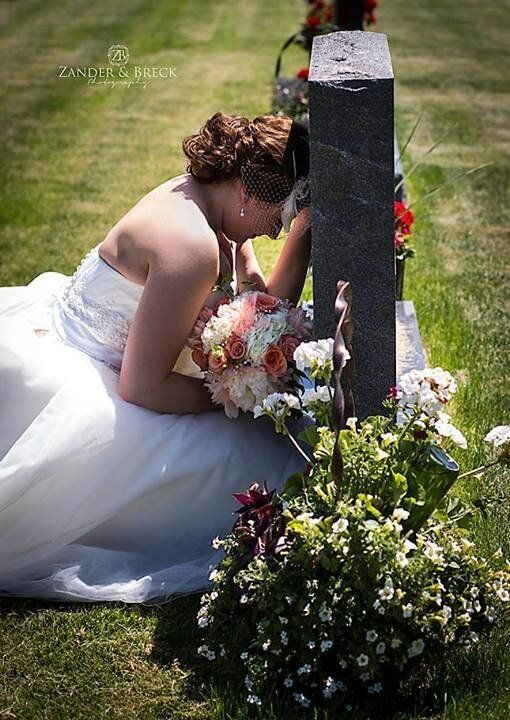 Paige Eding, Bride Photographed Making Emotional Stop At Father's Grave On Way To Wedding