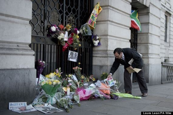 Nelson Mandela: Crowds And Tributes Outside South Africa House, London