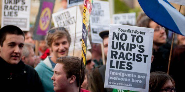 Demonstrators from various organisations travelled from all over the country to protest against UKIP...