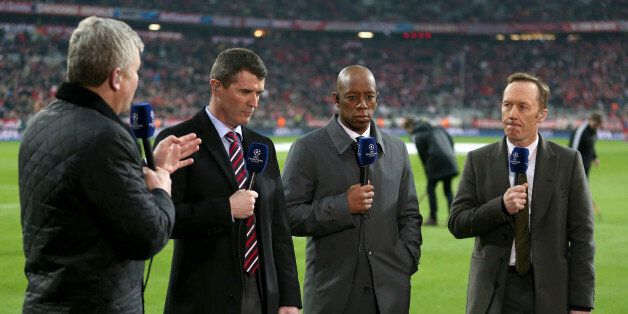 ITV Sport presenter Adrian Chiles and pundits Roy Keane, Ian Wright and Lee Dixon (left to right) before...