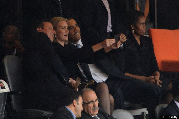 Barack Obama, David Cameron and Helle Thorning-Schmidt Take Selfie At Nelson Mandela