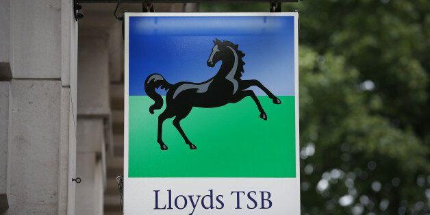 LONDON, ENGLAND - SEPTEMBER 17: A sign hangs outside a Lloyd's TSB Bank branch on September 17, 2013...