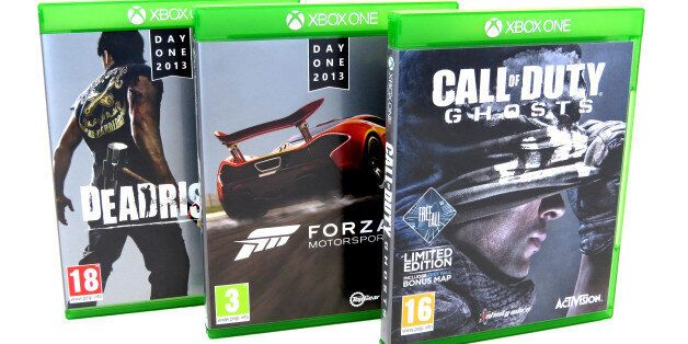 General view of XBOX ONE console games. DeadRising 3, Call Of Duty GHOSTS and FORZA