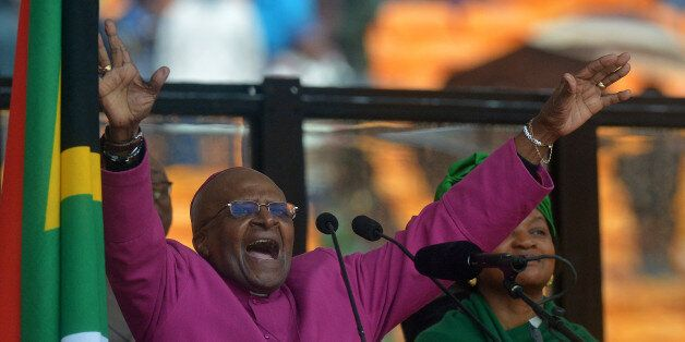 South African Archbishop and Honorary Elders Desmond Tutu speaks during the memorial service of South...