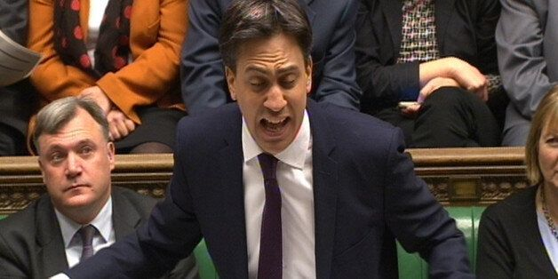 Labour party leader Ed Miliband speaks during Prime Minister's Questions in the House of Commons,