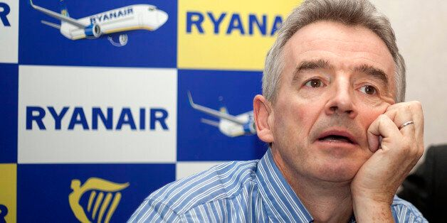 The chief executive officer of Irish low-cost airline Ryanair, Michael O'Leary, gives a press conference...