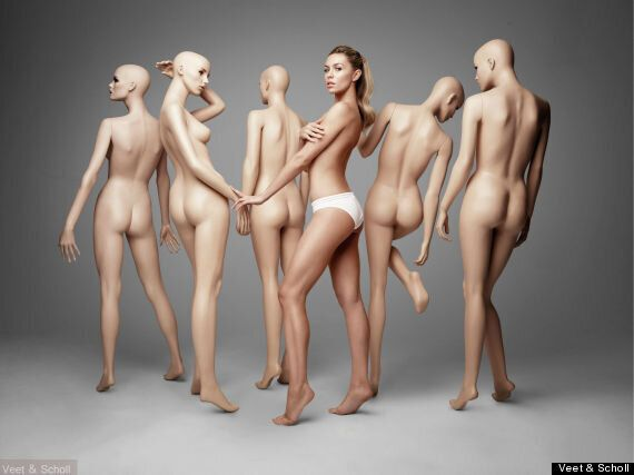 Abbey Clancy Strips To Her Underwear And Poses With Mannequins In Near-Naked Photo Shoot