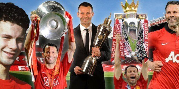 MANCHESTER, ENGLAND - MAY 06: Interim Manager Ryan Giggs of Manchester United applauds the fans after...