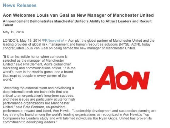 Louis Van Gaal: Manchester United Sponsors AON Welcome New