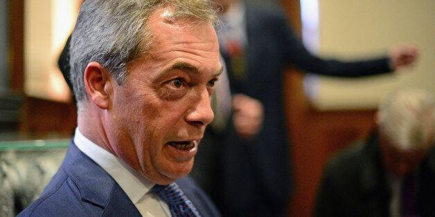 EDINBURGH, SCOTLAND - MAY 09: UK Independence Party leader Nigel Farage talks to journalists during European...