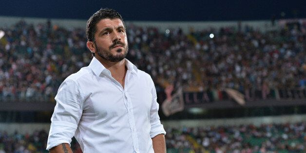 PALERMO, ITALY - AUGUST 17: Coach Gennaro Gattuso of Palermo looks on during the TIM Cup match between...