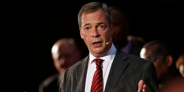 Nigel Farage speaks on stage during a Ukip rally held at the Emmanuel Centre,