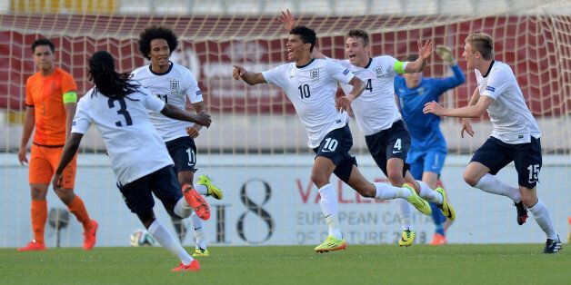 ATTARD, MALTA - MAY 21: Dominic Solanke (C) of England celebrates with team mates after scoring the opening...
